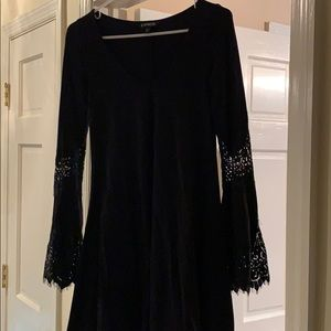 Black Express Lace Sleeve Dress